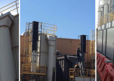 SGS Chile: Silenciador Cilíndrico y Barrera Acústica. Chimeneas Planta